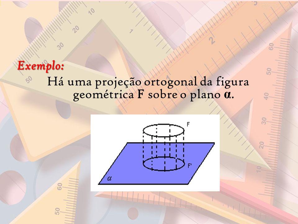 Há uma projeção ortogonal da figura geométrica F sobre o plano α.