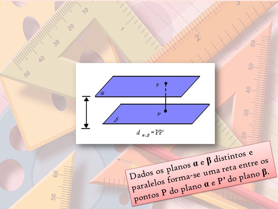 Dados os planos α e β distintos e paralelos forma-se uma reta entre os pontos P do plano α e P' do plano β.