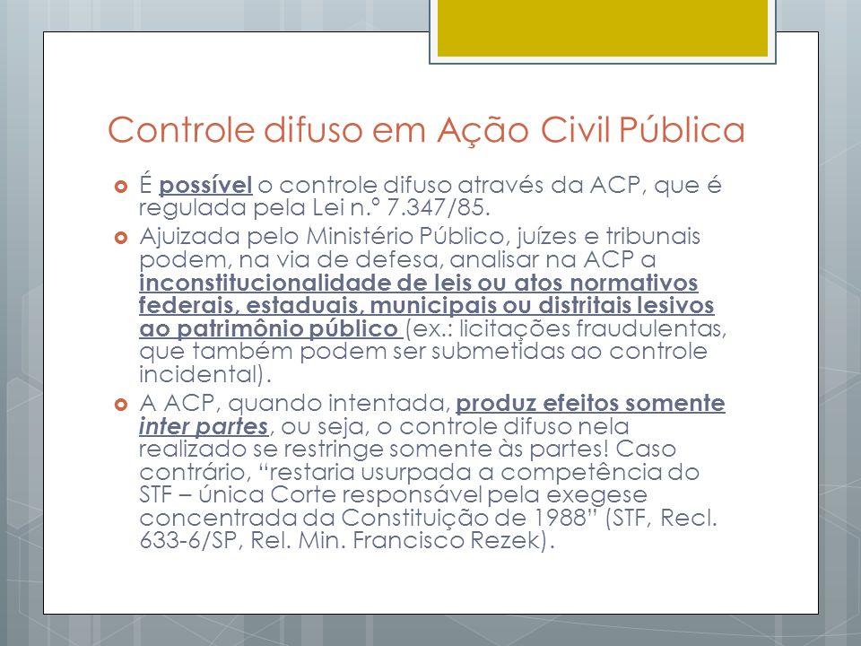 Controle difuso em Ação Civil Pública