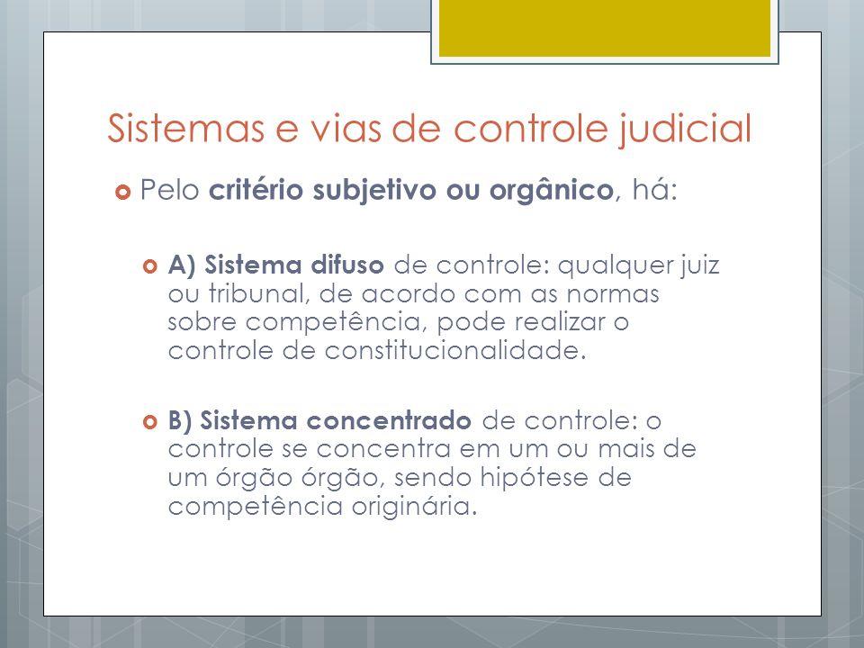 Sistemas e vias de controle judicial