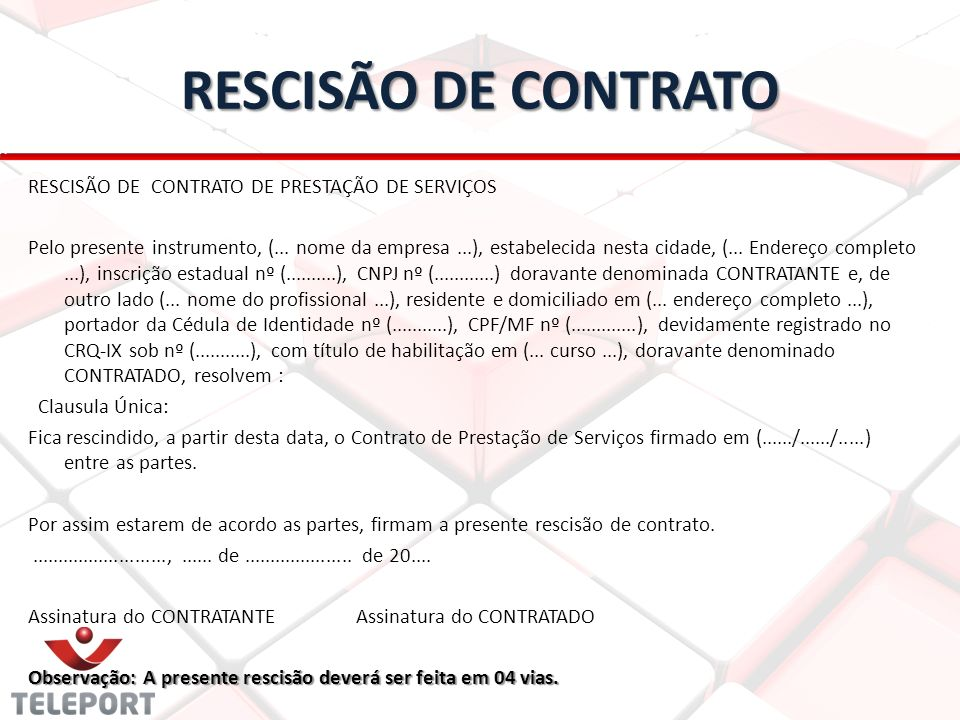 RESCISÃO DE CONTRATO RESCISÃO DE CONTRATO DE PRESTAÇÃO DE SERVIÇOS
