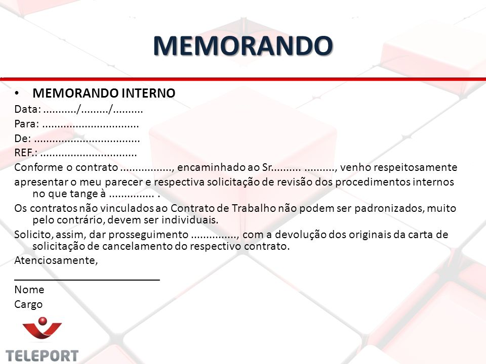 MEMORANDO MEMORANDO INTERNO Data: .........../........./..........