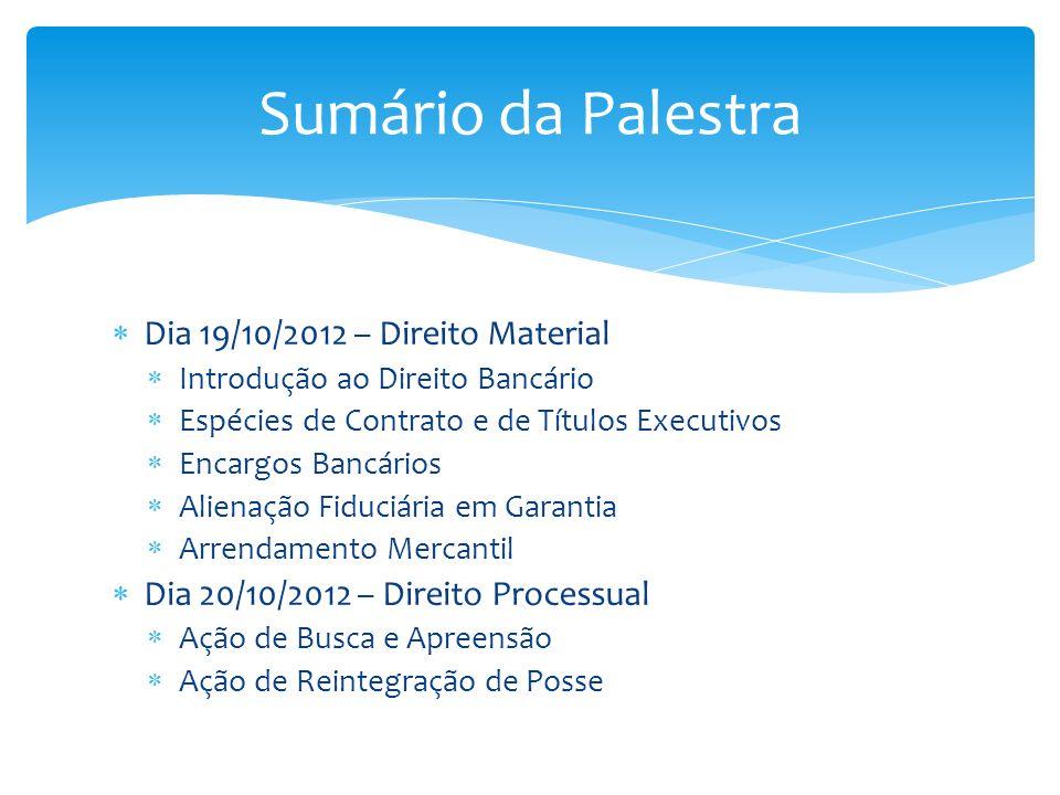 Sumário da Palestra Dia 19/10/2012 – Direito Material