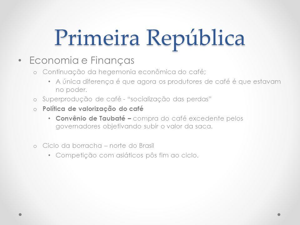 Primeira República Economia e Finanças