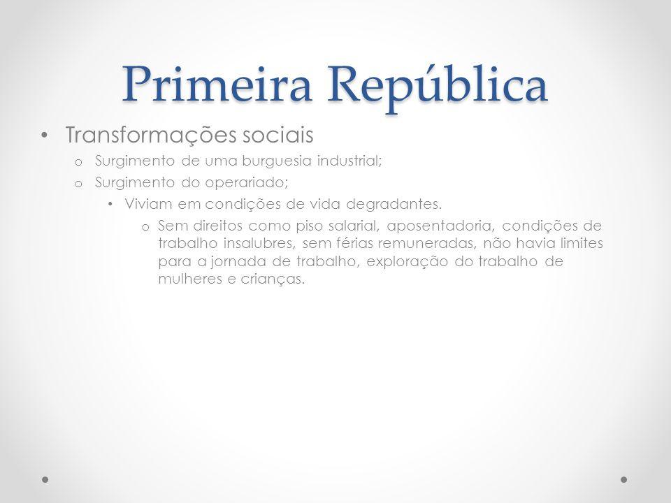 Primeira República Transformações sociais