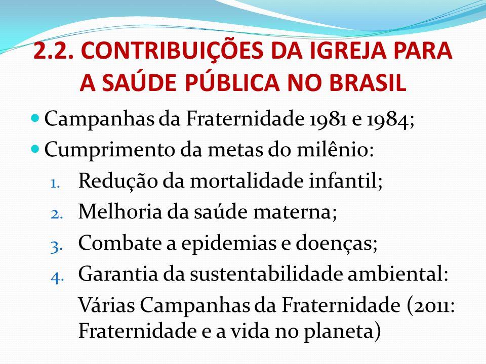 2.2. CONTRIBUIÇÕES DA IGREJA PARA A SAÚDE PÚBLICA NO BRASIL