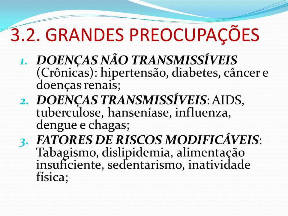 3.2. GRANDES PREOCUPAÇÕES DOENÇAS NÃO TRANSMISSÍVEIS (Crônicas): hipertensão, diabetes, câncer e doenças renais;