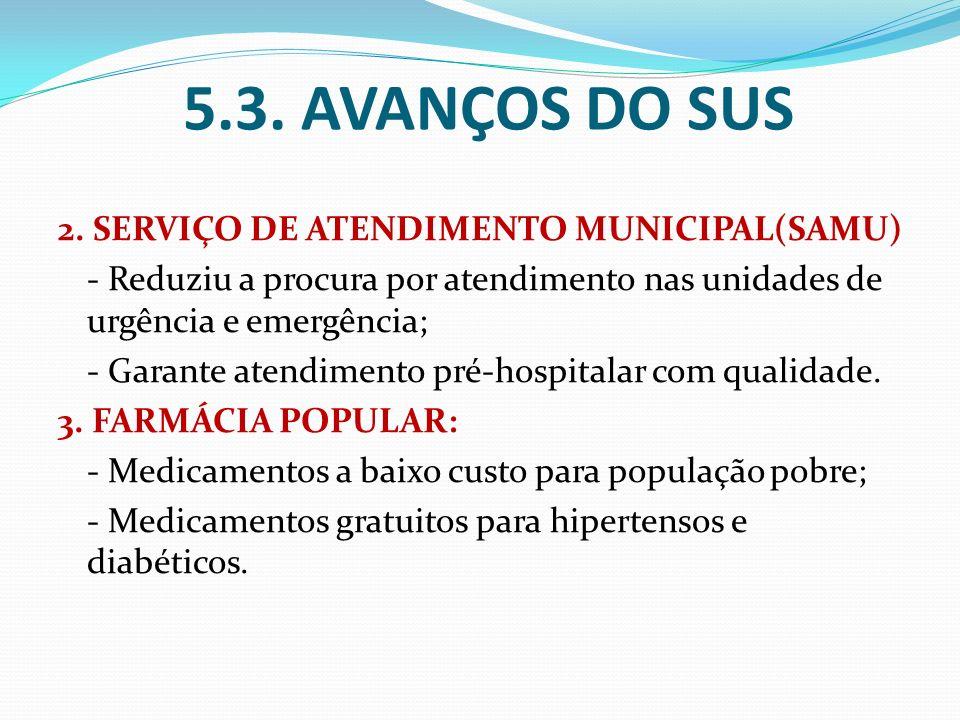 5.3. AVANÇOS DO SUS 2. SERVIÇO DE ATENDIMENTO MUNICIPAL(SAMU)