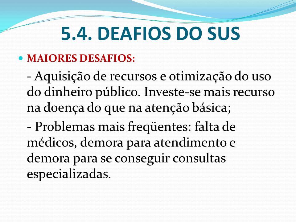 5.4. DEAFIOS DO SUS MAIORES DESAFIOS: