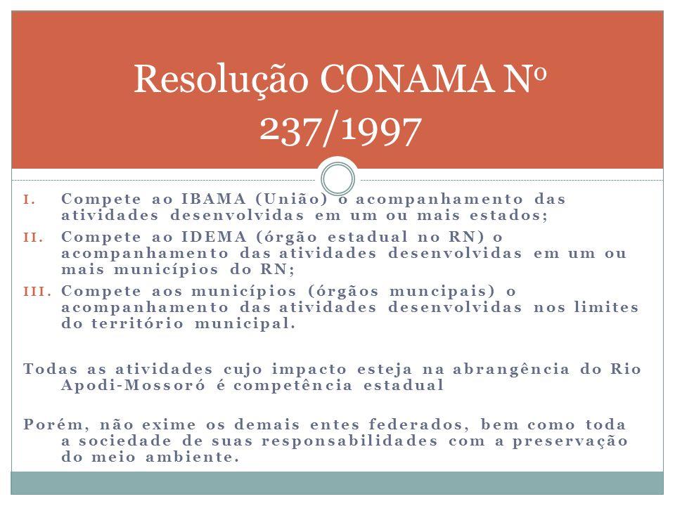 Resolução CONAMA No 237/1997 Compete ao IBAMA (União) o acompanhamento das atividades desenvolvidas em um ou mais estados;