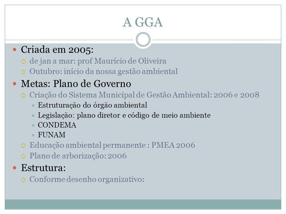 A GGA Criada em 2005: Metas: Plano de Governo Estrutura: