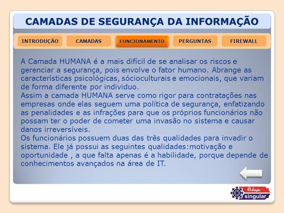 CAMADAS DE SEGURANÇA DA INFORMAÇÃO