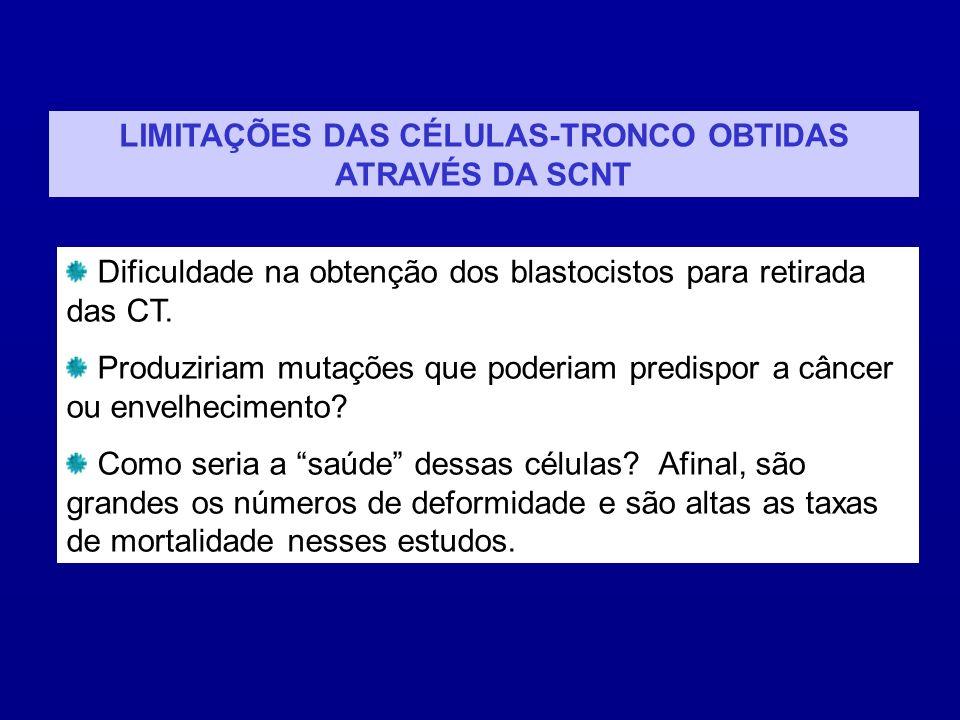 LIMITAÇÕES DAS CÉLULAS-TRONCO OBTIDAS ATRAVÉS DA SCNT