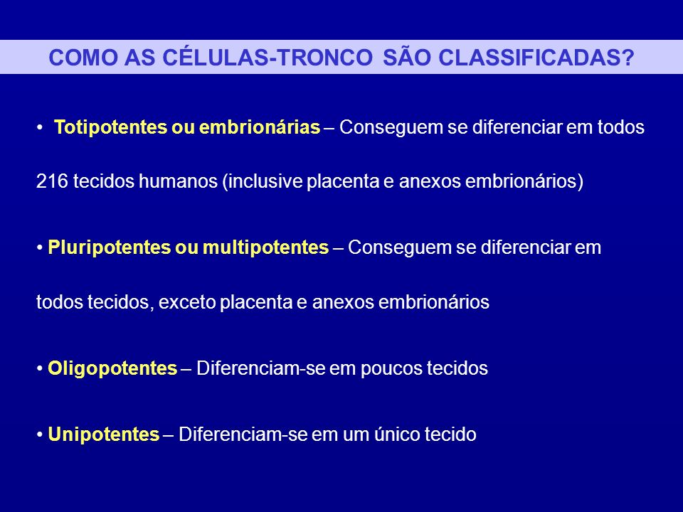 COMO AS CÉLULAS-TRONCO SÃO CLASSIFICADAS