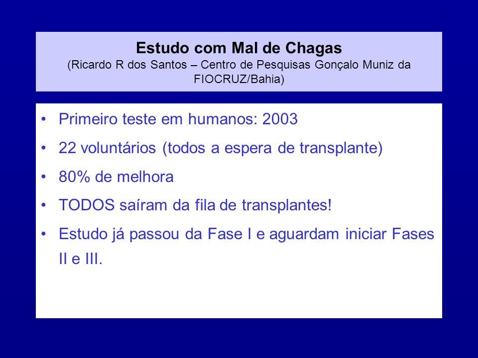 Estudo com Mal de Chagas (Ricardo R dos Santos – Centro de Pesquisas Gonçalo Muniz da FIOCRUZ/Bahia)