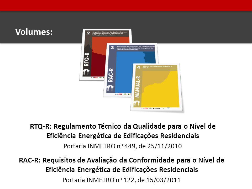 Volumes: RTQ-R: Regulamento Técnico da Qualidade para o Nível de Eficiência Energética de Edificações Residenciais.