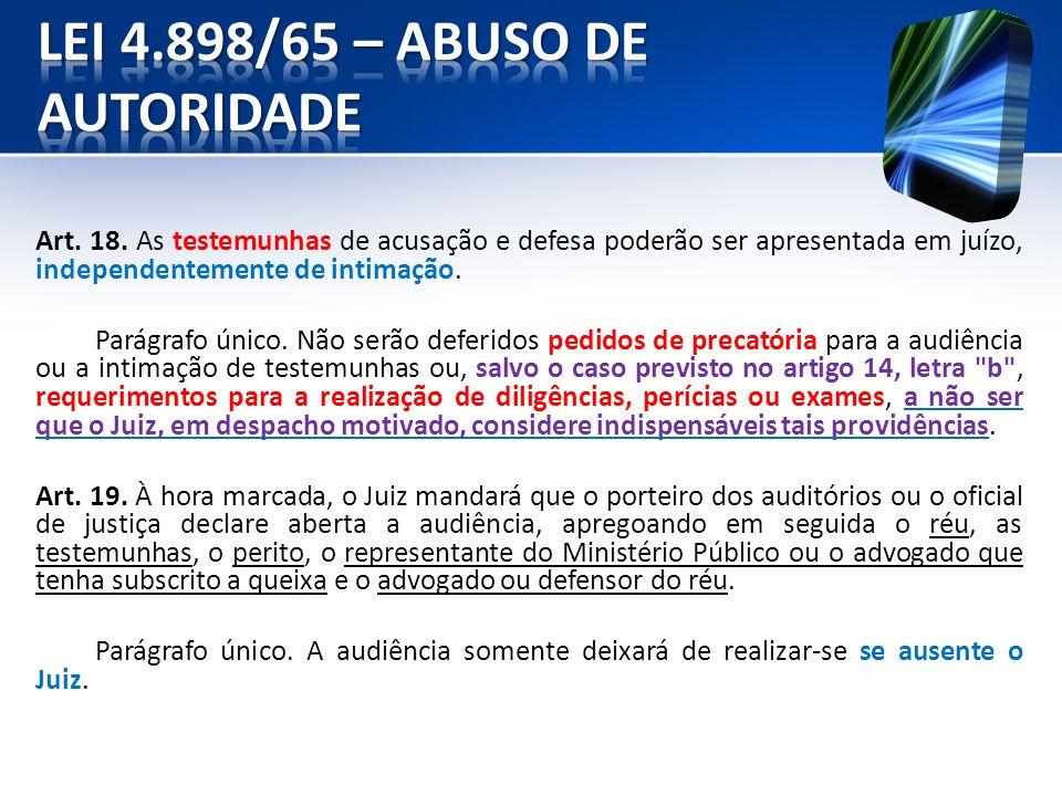 LEI 4.898/65 – ABUSO DE AUTORIDADE