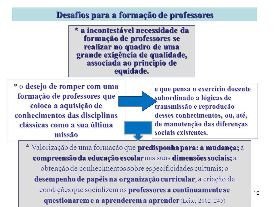 Desafios para a formação de professores
