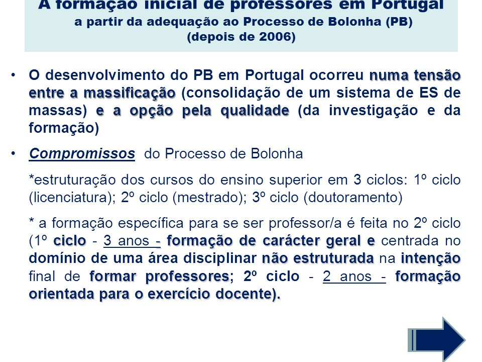 A formação inicial de professores em Portugal a partir da adequação ao Processo de Bolonha (PB) (depois de 2006)