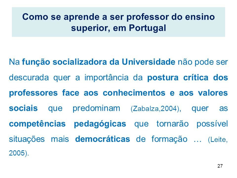 Como se aprende a ser professor do ensino superior, em Portugal