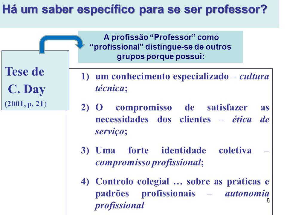 Tese de C. Day Há um saber específico para se ser professor