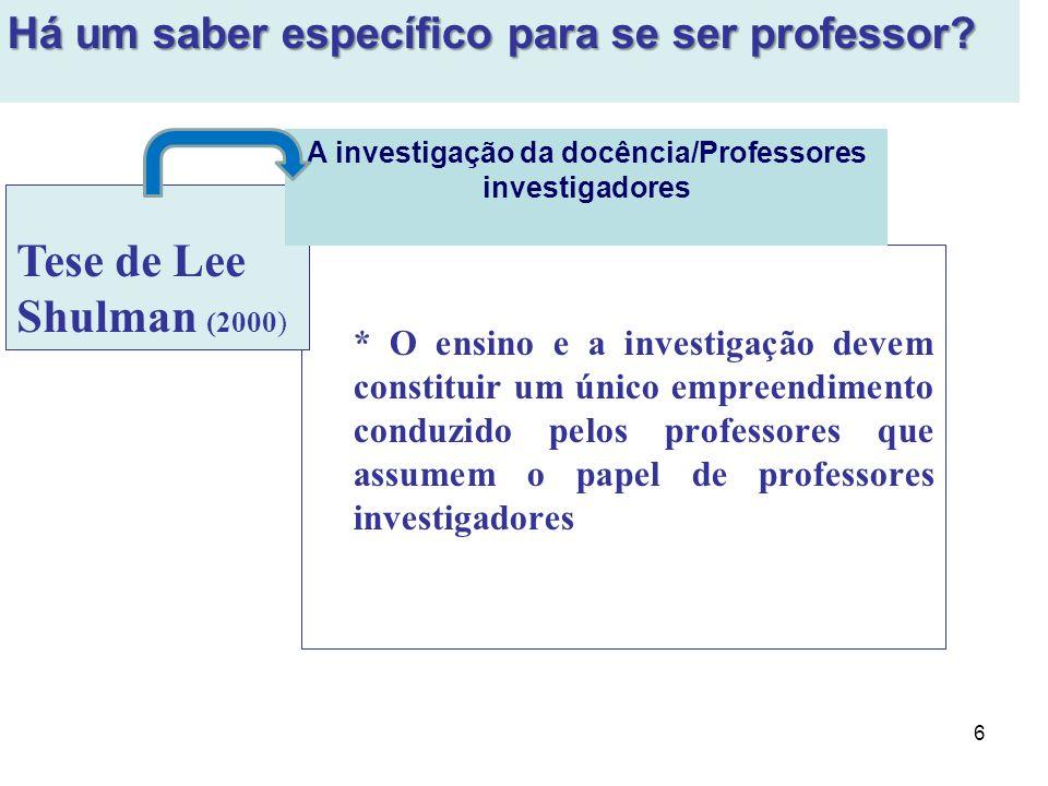 A investigação da docência/Professores investigadores