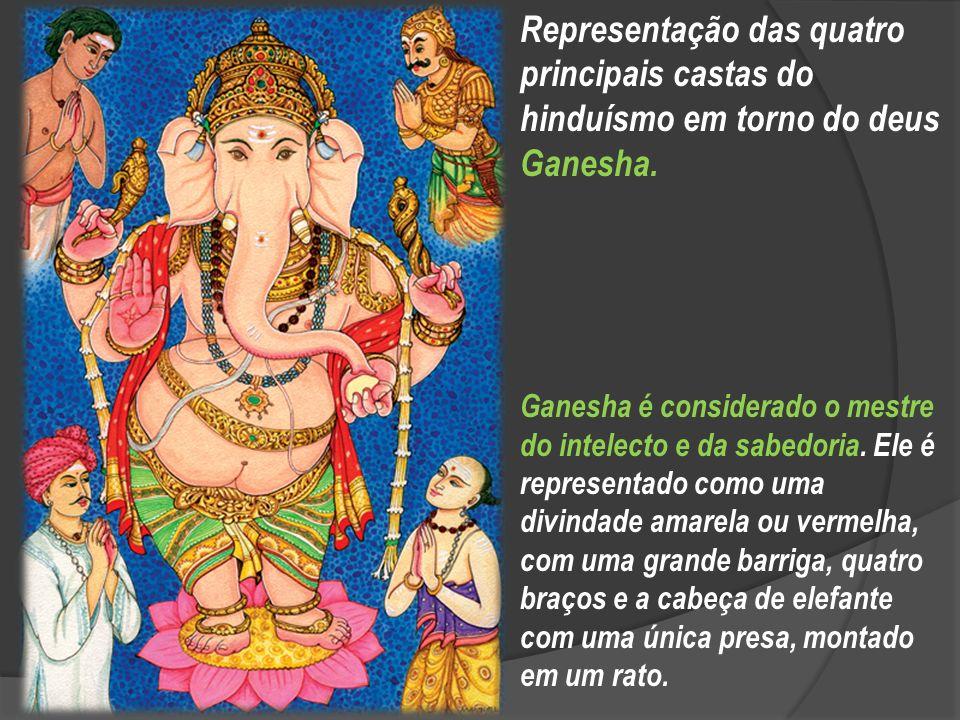 Representação das quatro principais castas do hinduísmo em torno do deus Ganesha.