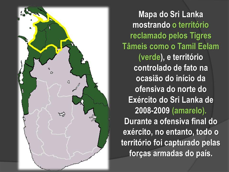 Mapa do Sri Lanka mostrando o território reclamado pelos Tigres Tâmeis como o Tamil Eelam (verde), e território controlado de fato na ocasião do início da ofensiva do norte do Exército do Sri Lanka de 2008-2009 (amarelo).