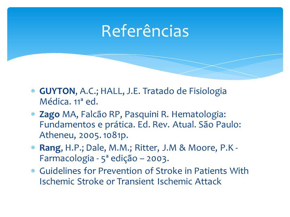 Referências GUYTON, A.C.; HALL, J.E. Tratado de Fisiologia Médica. 11ª ed.