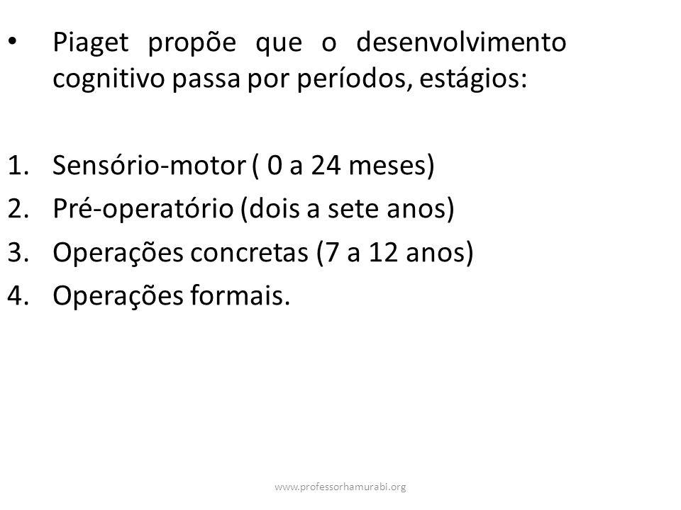 Sensório-motor ( 0 a 24 meses) Pré-operatório (dois a sete anos)