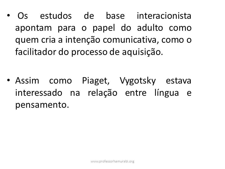 Os estudos de base interacionista apontam para o papel do adulto como quem cria a intenção comunicativa, como o facilitador do processo de aquisição.