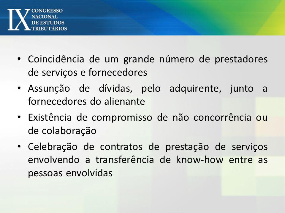 Coincidência de um grande número de prestadores de serviços e fornecedores