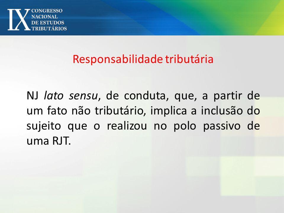 Responsabilidade tributária NJ lato sensu, de conduta, que, a partir de um fato não tributário, implica a inclusão do sujeito que o realizou no polo passivo de uma RJT.