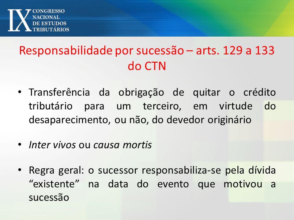 Responsabilidade por sucessão – arts. 129 a 133 do CTN