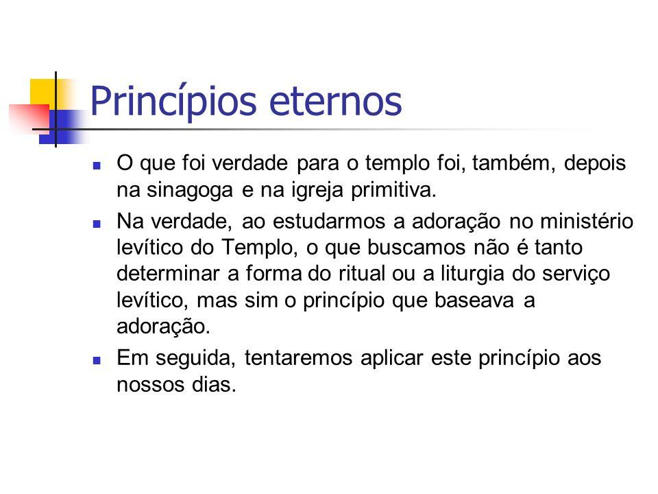 Princípios eternos O que foi verdade para o templo foi, também, depois na sinagoga e na igreja primitiva.