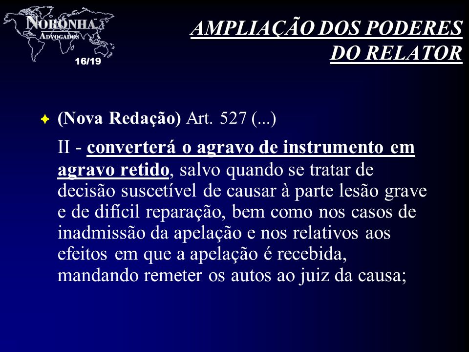 AMPLIAÇÃO DOS PODERES DO RELATOR