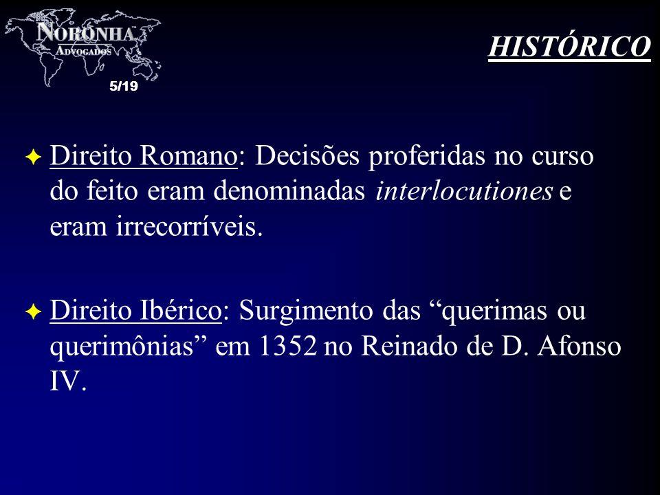 HISTÓRICO Direito Romano: Decisões proferidas no curso do feito eram denominadas interlocutiones e eram irrecorríveis.