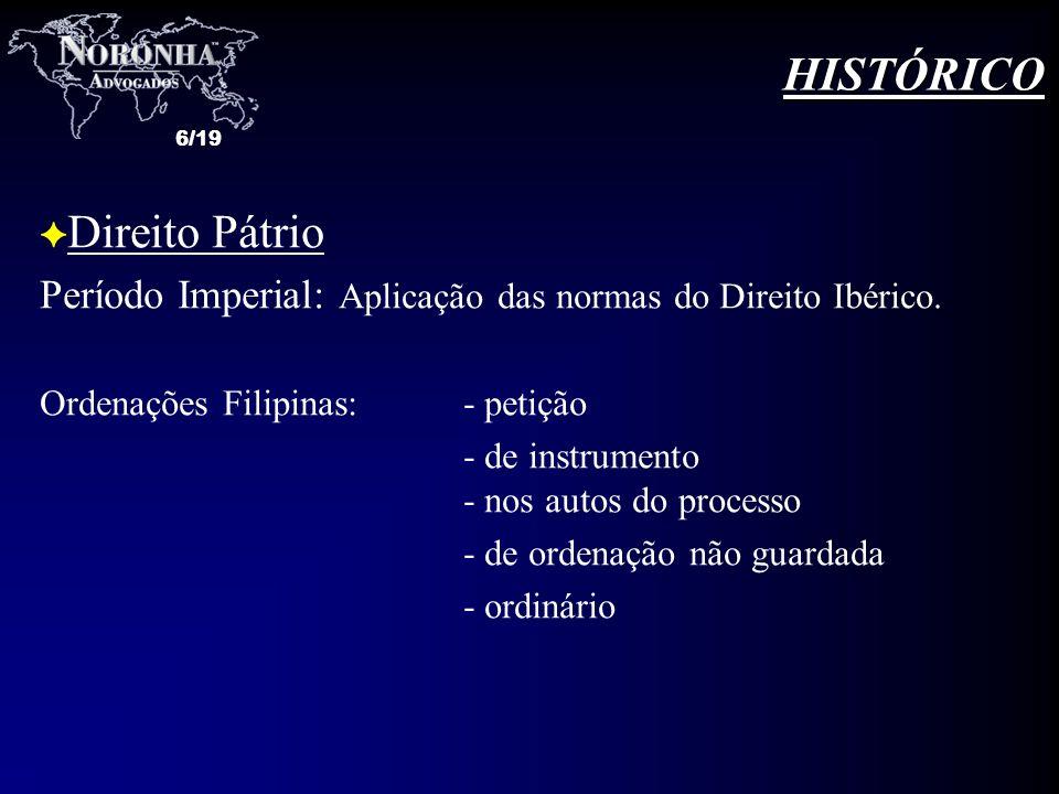 HISTÓRICO Direito Pátrio