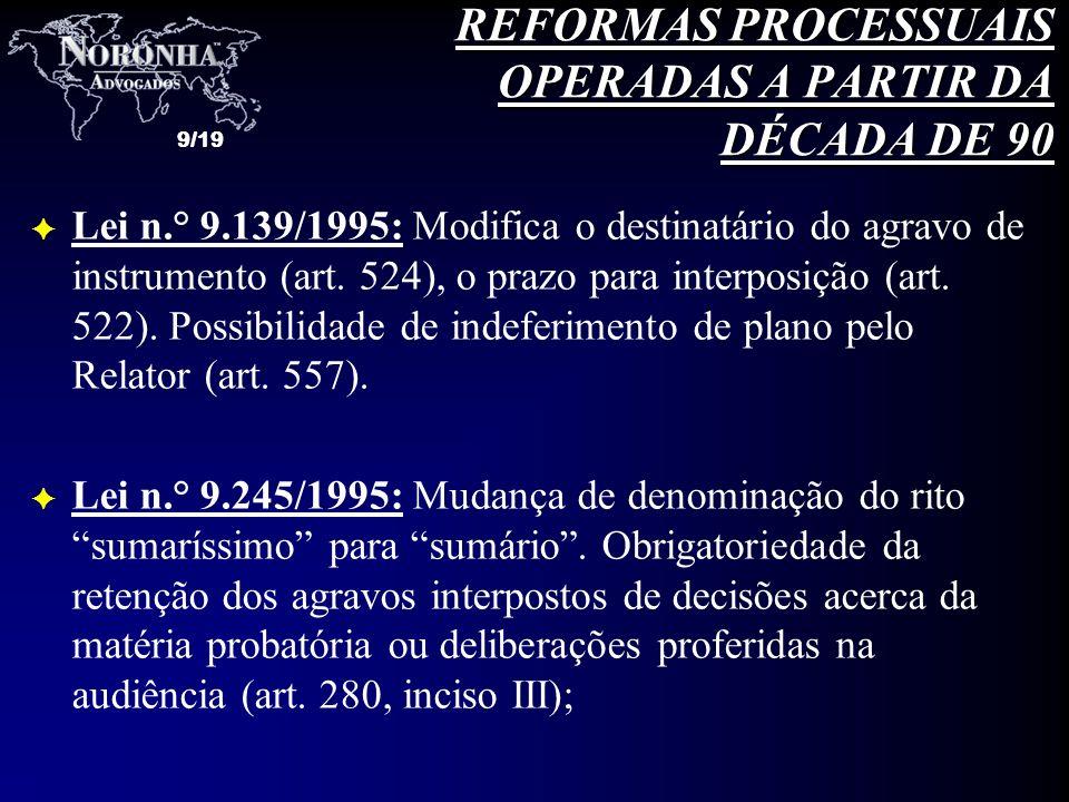 REFORMAS PROCESSUAIS OPERADAS A PARTIR DA DÉCADA DE 90