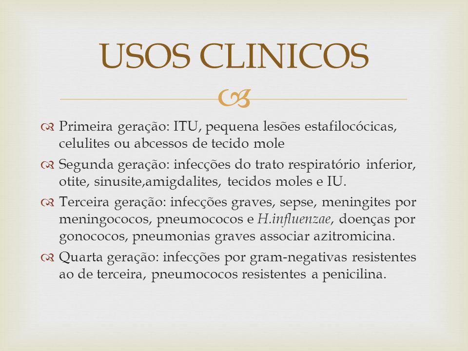 USOS CLINICOS Primeira geração: ITU, pequena lesões estafilocócicas, celulites ou abcessos de tecido mole.