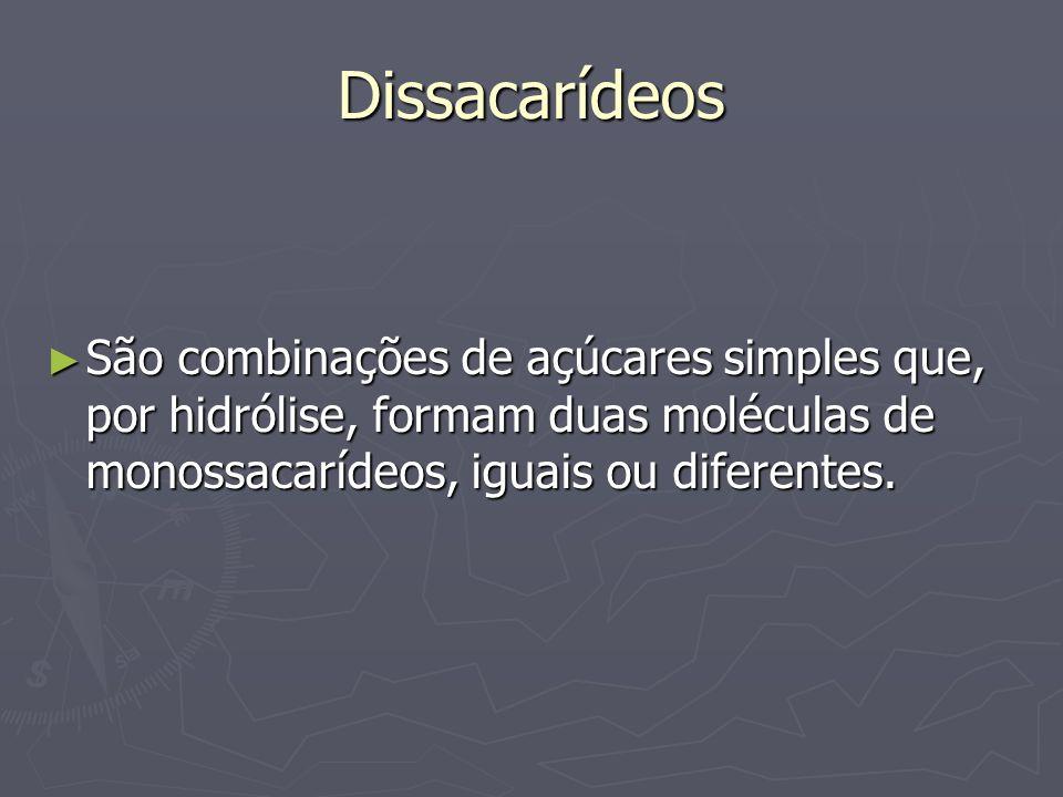Dissacarídeos São combinações de açúcares simples que, por hidrólise, formam duas moléculas de monossacarídeos, iguais ou diferentes.