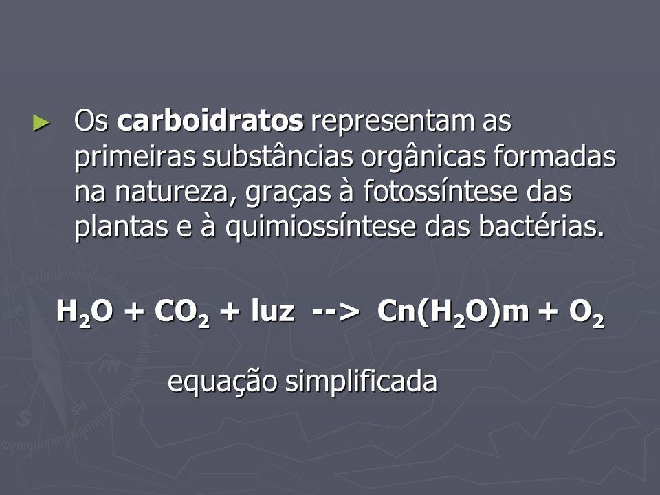 Os carboidratos representam as primeiras substâncias orgânicas formadas na natureza, graças à fotossíntese das plantas e à quimiossíntese das bactérias.