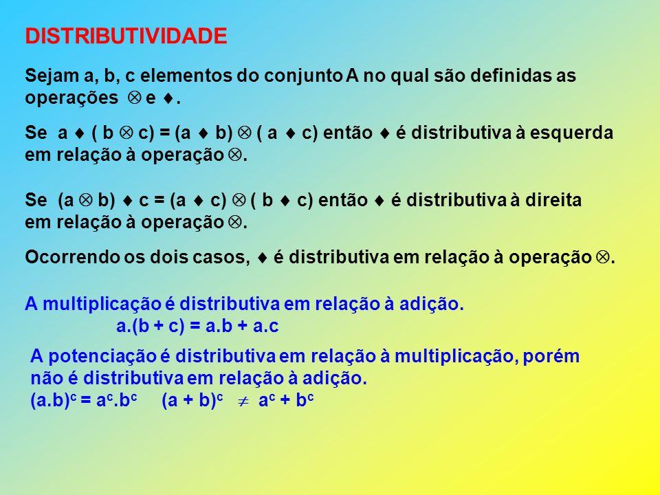 DISTRIBUTIVIDADE Sejam a, b, c elementos do conjunto A no qual são definidas as. operações  e .