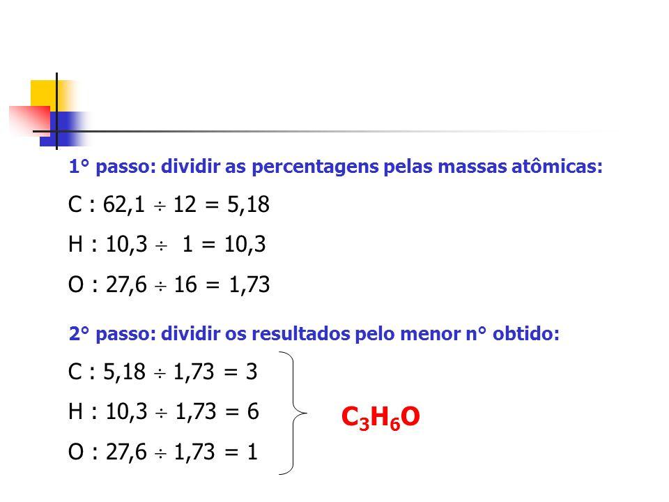 1° passo: dividir as percentagens pelas massas atômicas: