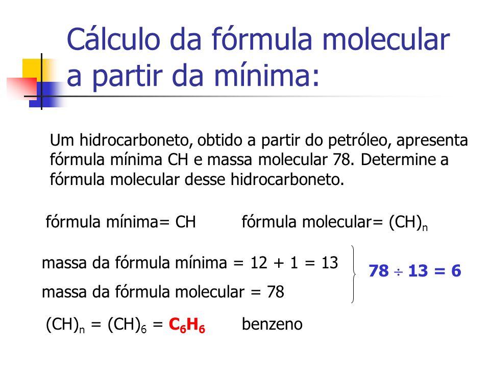 Cálculo da fórmula molecular a partir da mínima: