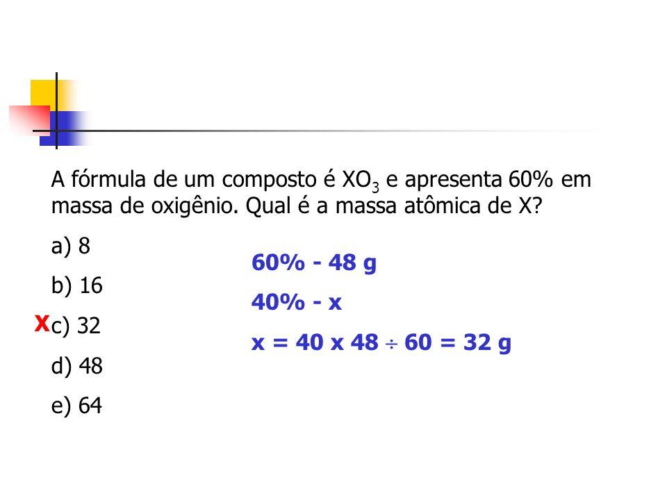 A fórmula de um composto é XO3 e apresenta 60% em massa de oxigênio