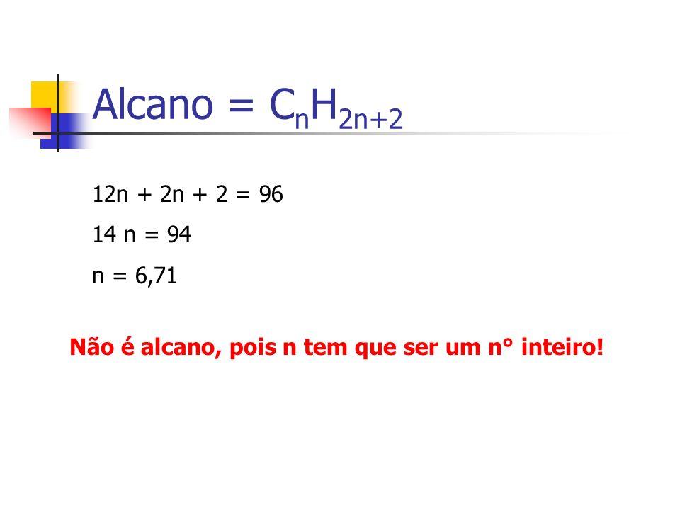 Alcano = CnH2n+2 12n + 2n + 2 = 96 14 n = 94 n = 6,71