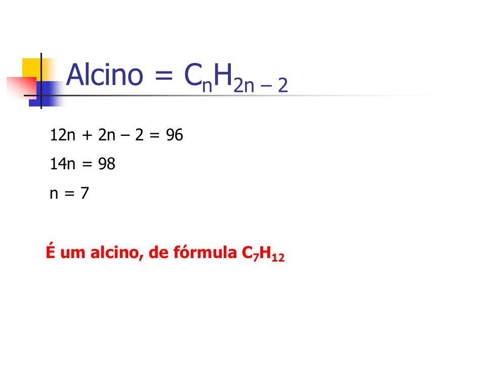 Alcino = CnH2n – 2 12n + 2n – 2 = 96 14n = 98 n = 7