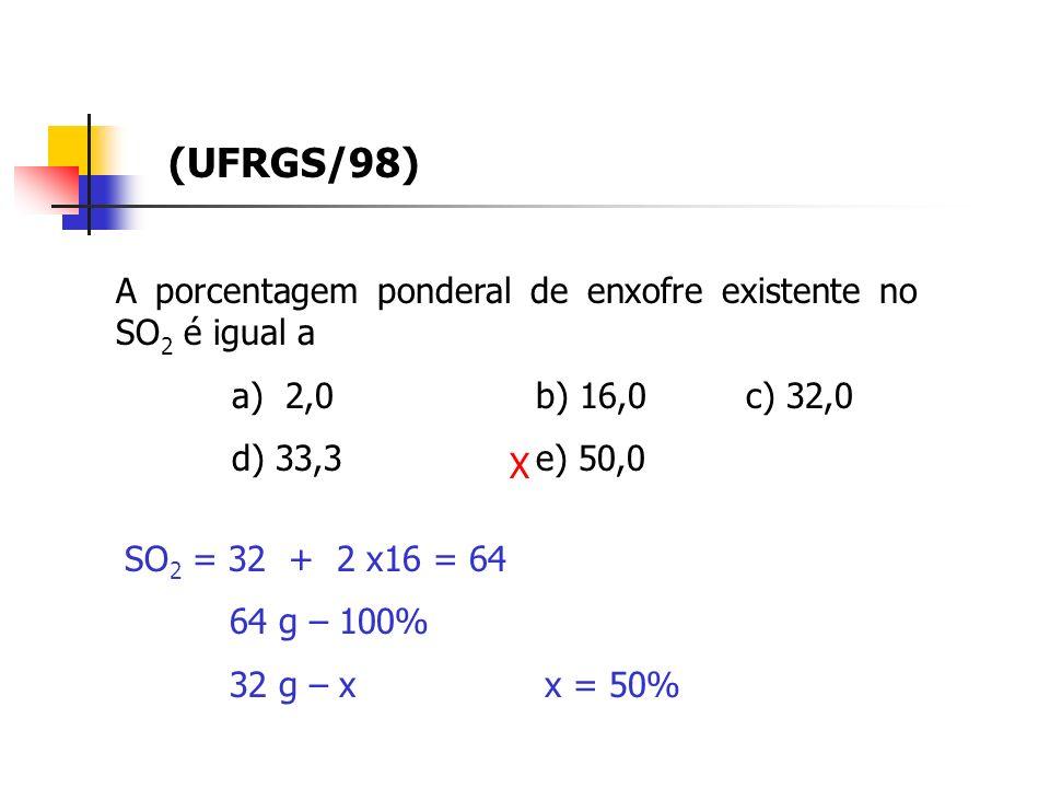 (UFRGS/98) A porcentagem ponderal de enxofre existente no SO2 é igual a. a) 2,0 b) 16,0 c) 32,0.