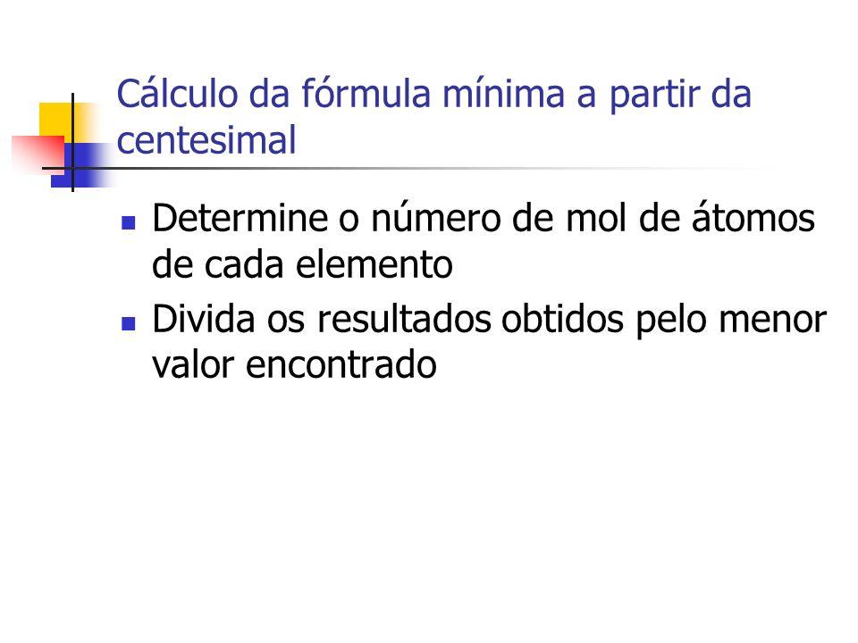 Cálculo da fórmula mínima a partir da centesimal